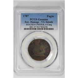 1787 Fugio STATES UNITED, 4 Cinq. VG Details PCGS