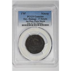 1787 Njersy Genuine Sm Plan, Plain Shield. F Details PCGS