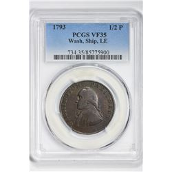 1793 1/2P Half Pence. VF 35 PCGS
