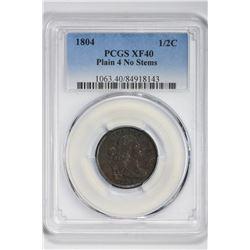 1804 1/2C Half Cent. XF 40 PCGS