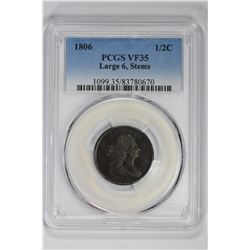 1806 1/2C Large 6, Stems. VF 35 PCGS