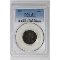 1806 1/2C Large 6, Stems. VF 35 PCGS