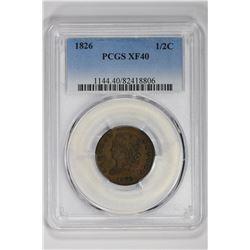 1826 1/2C. XF 40 PCGS