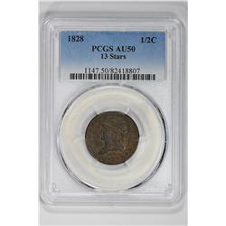 1828 1/2C 13 Stars. AU 50 PCGS