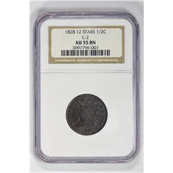 1828 1/2C Half Cent. AU 55 NGC