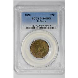 1828 1/2C Half Cent. MS 62 PCGS