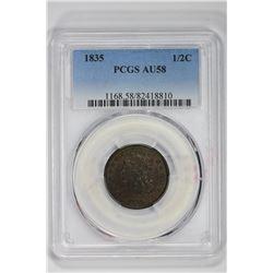 1835 1/2C. AU 58 PCGS