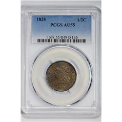 1835 1/2C Half Cent. AU 55 PCGS