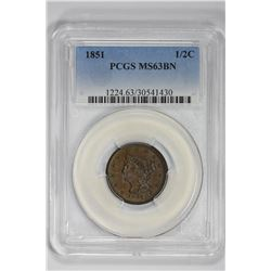 1851 1/2C Half Cent. MS 62 PCGS
