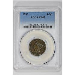 1853 1/2C. XF 45 PCGS
