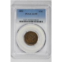 1853 1/2C. AU 55 PCGS