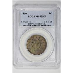 1850 1C Large Cent. MS 63 PCGS