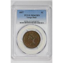 1857 1C. MS 62 PCGS