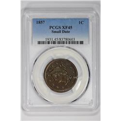 1857 1C Small Date. XF 45 PCGS