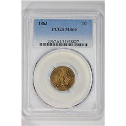 1863 1C. MS 64 PCGS