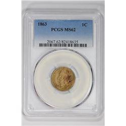 1863 1C. MS 62 PCGS