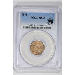 1863 1C Indian Cent. MS 64 PCGS