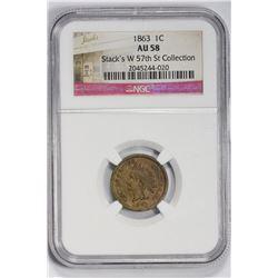 1863 1C Indian Cent. AU 58 NGC