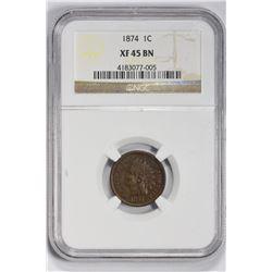 1874 1C Indian Cent. XF 45 NGC