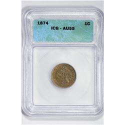 1874 1C Indian Cent. AU 55 ICG