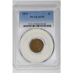 1879 1C. AU 55 PCGS