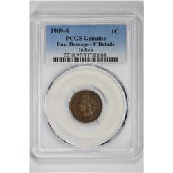1909-S 1C Genuine Indian. F Detail PCGS