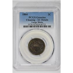 1864 2C Genuine Large Motto. AU Detail PCGS
