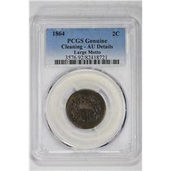1864 2C Genuine Large Motto. AU Detail PCGS