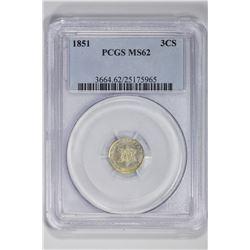 1851 3CS. MS 62 PCGS