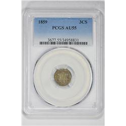 1859 3CS. AU  55 PCGS