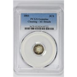 1861 3CS Genuine. AU Detail PCGS