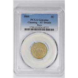 1866 5C Genuine Rays. AU Detail PCGS