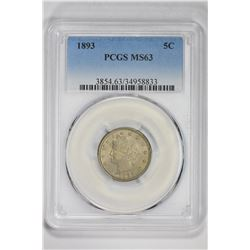 1893 5C. MS 63 PCGS