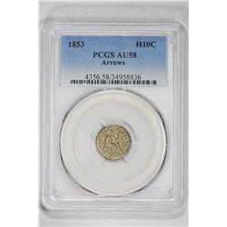 1853 H10C Arrows. AU 58 PCGS