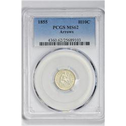 1855 H10C . MS 62 PCGS