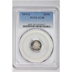 1873-S H10C . AU 58 PCGS