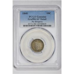 1840 10C Genuine. XF Detail PCGS
