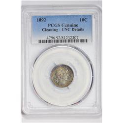 1892 10C. Unc Details PCGS