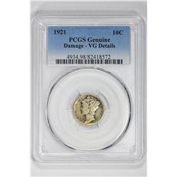 1921 10C Genuine. VG Details PCGS