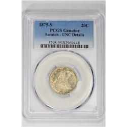 1875-S 20C Genuine. UNC Details PCGS