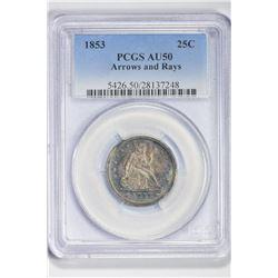 1853 25C. AU 50 PCGS