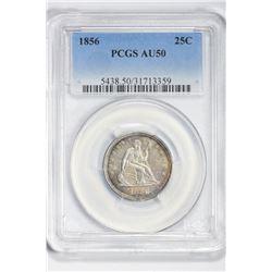 1856 25C. AU 50 PCGS