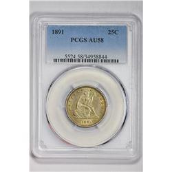 1891 25C. AU 58 PCGS