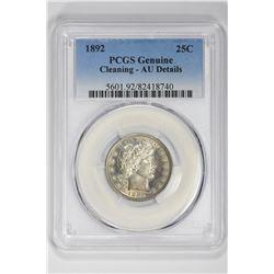 1892 25C Genuine. AU Details PCGS