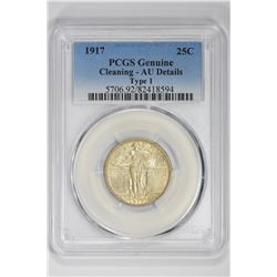1917 25C Genuine Type 1. AU Details PCGS
