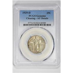 1929 25C Genuine . AU Details PCGS