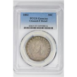 1802 50C Genuine. F Detail PCGS