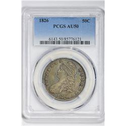 1826 50C Half Dollar. AU 50 PCGS