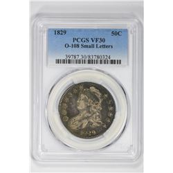 1829 50C O-108 Small Letters. VF 30 PCGS