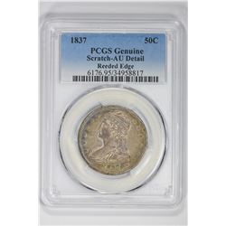 1837 50C Genuine Reeded Edge. AU Detail PCGS